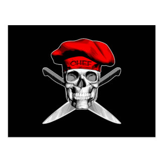 Skull and Chef Knives: Red Hat Postcard