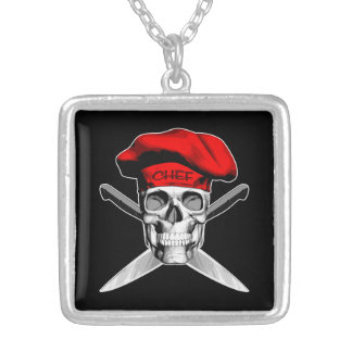 Skull and Chef Knives: Red Hat Silver Plated Necklace
