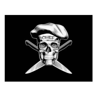 Skull and Chef Knives: White Hat Postcard