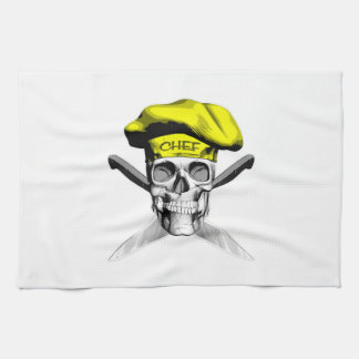 Skull and Chef Knives: Yellow Hat Kitchen Towel