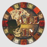 Skull and Cigar All In Classic Round Sticker
