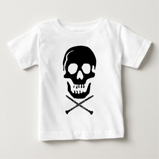 Skull and clarinets - Black on white Baby T-Shirt