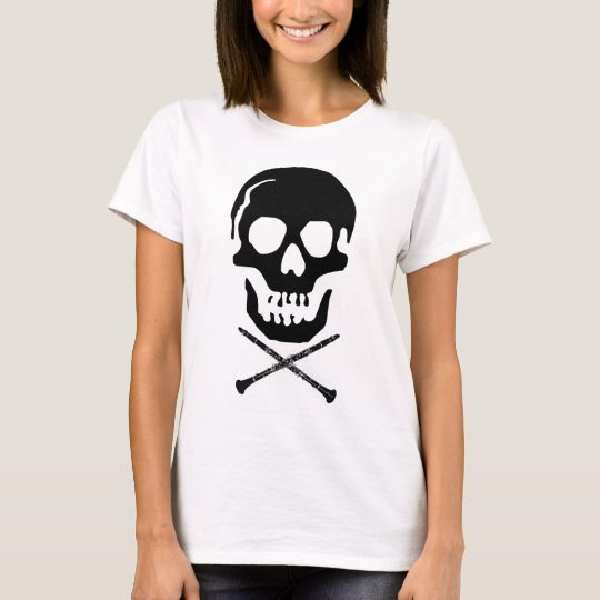 Skull and clarinets - Black on white T-Shirt