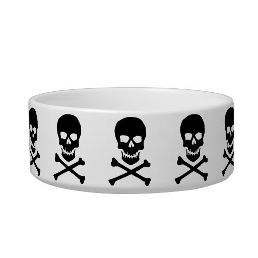 Skull and cross bone cat bowl