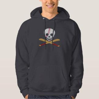 Skull and Cross Bones Baseball Style Hooded Sweatshirt
