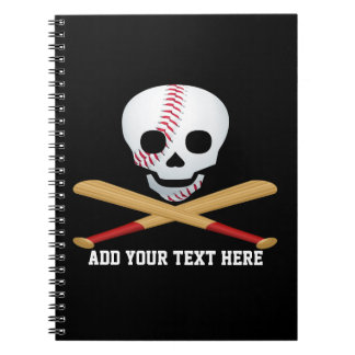 Skull and Cross Bones Baseball Style Notebook