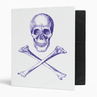 Skull and Cross Bones - Blue 3 Ring Binder