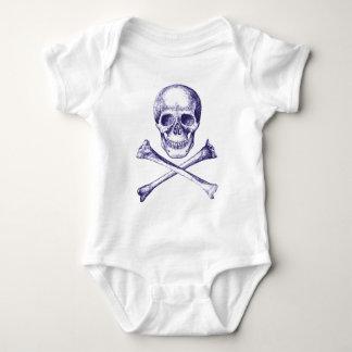 Skull and Cross Bones Blue Baby Bodysuit