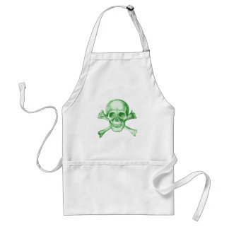 Skull and Cross Bones - Green Adult Apron