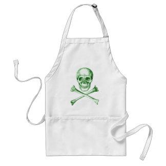 Skull and Cross Bones - Green Apron