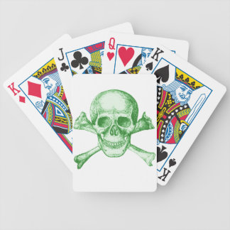 Skull and Cross Bones Green Bicycle Playing Cards