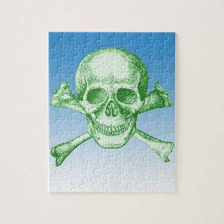 Skull and Cross Bones Green Jigsaw Puzzle