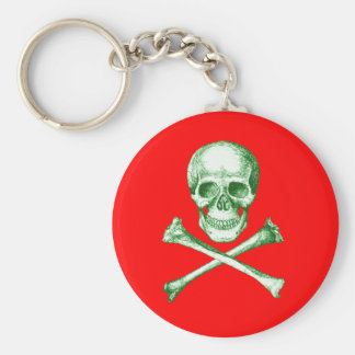 Skull and Cross Bones - Green Basic Round Button Keychain