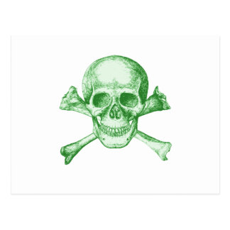 Skull and Cross Bones Green Postcard