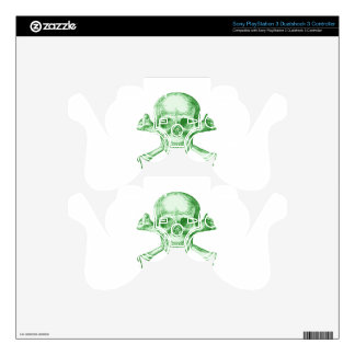 Skull and Cross Bones Green PS3 Controller Decals
