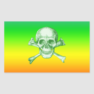 Skull and Cross Bones Green Rectangular Sticker