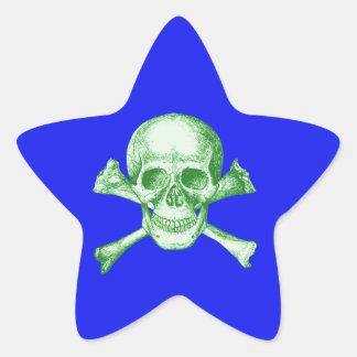 Skull and Cross Bones Green Star Sticker
