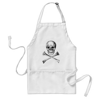 Skull and Cross Bones - Grey Adult Apron