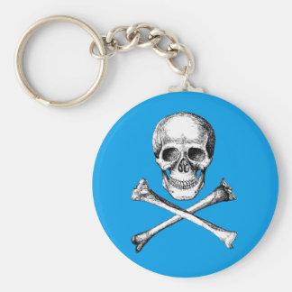 Skull and Cross Bones Grey Basic Round Button Keychain
