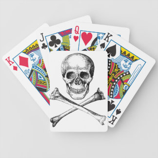 Skull and Cross Bones Grey Bicycle Playing Cards