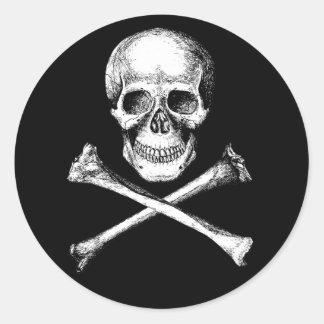 Skull and Cross Bones Grey Classic Round Sticker