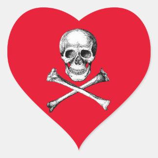 Skull and Cross Bones Grey Heart Sticker