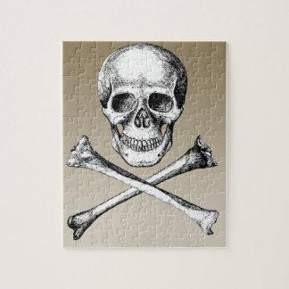 Skull and Cross Bones Grey Jigsaw Puzzle