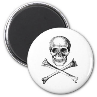 Skull and Cross Bones - Grey Magnet