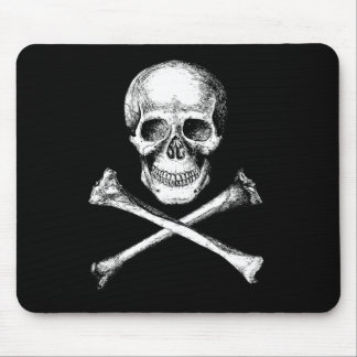 Skull and Cross Bones Grey Mouse Pad