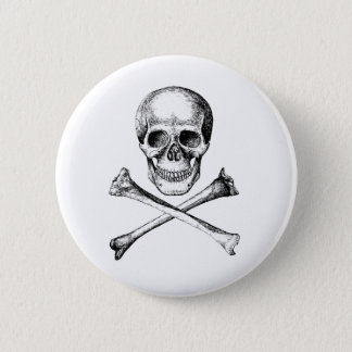 Skull and Cross Bones - Grey Pinback Button