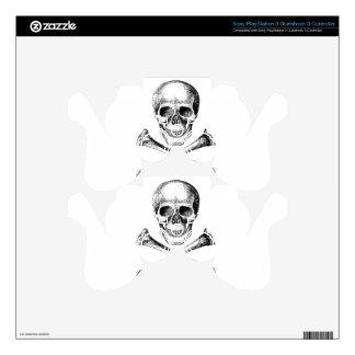 Skull and Cross Bones Grey PS3 Controller Skins