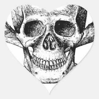 Skull and Cross Bones Heart Sticker