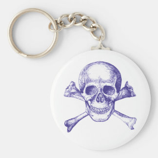 Skull and Cross Bones in Blue Basic Round Button Keychain
