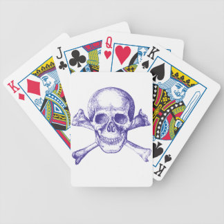 Skull and Cross Bones in Blue Bicycle Playing Cards