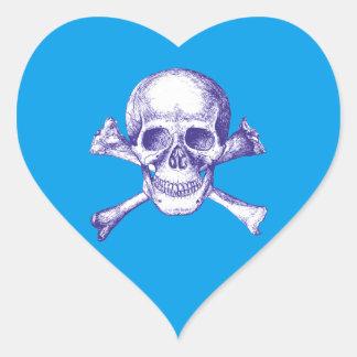 Skull and Cross Bones in Blue Heart Sticker