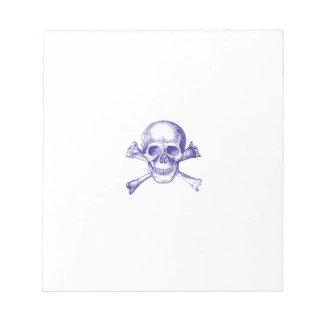 Skull and Cross Bones in Blue Notepad