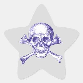Skull and Cross Bones in Blue Star Sticker