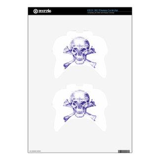 Skull and Cross Bones in Blue Xbox 360 Controller Skins