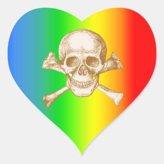 Skull and Cross Bones in Orange Heart Sticker