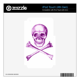 Skull and Cross Bones in Purple Decal For iPod Touch 4G