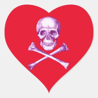 Skull and Cross Bones in Purple Heart Sticker