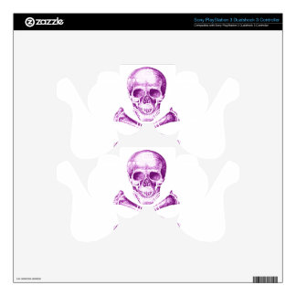 Skull and Cross Bones in Purple PS3 Controller Skin