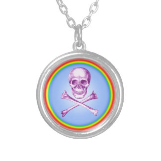 Skull and Cross Bones in Purple Round Pendant Necklace