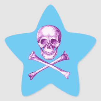 Skull and Cross Bones in Purple Star Sticker