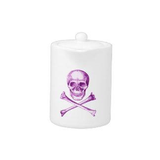 Skull and Cross Bones in Purple Teapot
