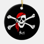 Skull and Cross Bones Pirate Double-Sided Ceramic Round Christmas Ornament