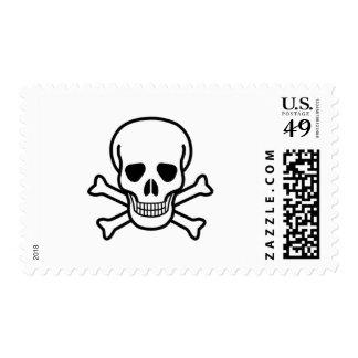 Skull and cross bones postage stamp