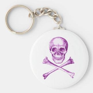 Skull and Cross Bones - Purple Keychain