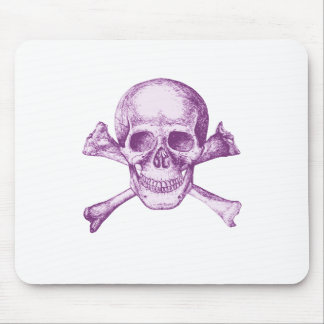 Skull and Cross Bones - Purple Mouse Pad