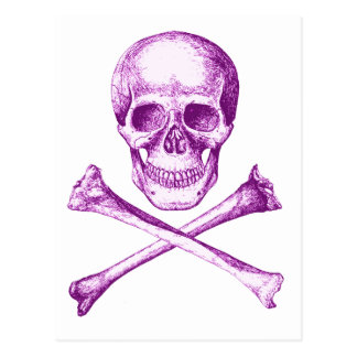Skull and Cross Bones - Purple Postcard